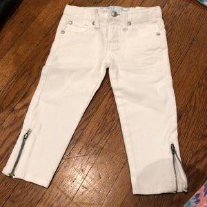 white jeans with zippers on bottom new with tags